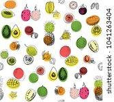 tropical fruits seamless pattern | Shutterstock . vector #1041263404