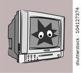 retro cartoon tv set with eyes... | Shutterstock .eps vector #104127374