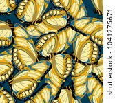 Stock vector seamless pattern with yellow beige butterflies on blue background with butterflies 1041275671