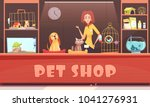 Stock vector pet shop interior with woman seller home animals shelves with accessories feeds and medicines 1041276931