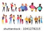 set of heterosexual families... | Shutterstock .eps vector #1041278215