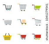 supermarket shop cart icon set. ...   Shutterstock . vector #1041279541