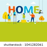 home   family is painting... | Shutterstock .eps vector #1041282061