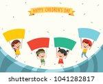 vector illustration of kids... | Shutterstock .eps vector #1041282817