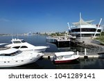 yacht club with luxury yacht... | Shutterstock . vector #1041289141