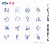 Body Aches Thin Line Icons Set...