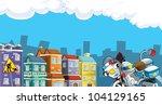 Cartoon city look 1 next - stock photo