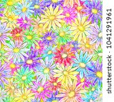 seamless floral background with ... | Shutterstock . vector #1041291961