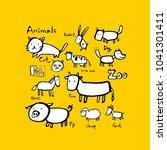 animal sketch   hand drawn zoo... | Shutterstock .eps vector #1041301411