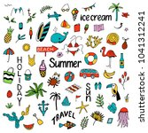 background with summer set of... | Shutterstock .eps vector #1041312241