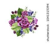 a beautiful watercolor bouquet... | Shutterstock . vector #1041315394