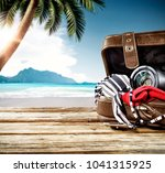 summer brown travel suitcase... | Shutterstock . vector #1041315925