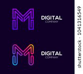 letter m colorful logotype with ... | Shutterstock .eps vector #1041316549