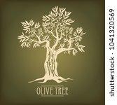olive tree on vintage paper.... | Shutterstock .eps vector #1041320569