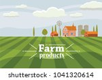 rural countryside with a farm.... | Shutterstock .eps vector #1041320614