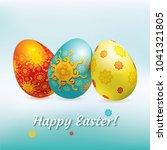 blue red yellow easter eggs on...   Shutterstock .eps vector #1041321805