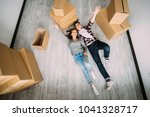 elevated view of happy young...   Shutterstock . vector #1041328717