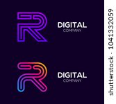 letter r colorful logotype with ... | Shutterstock .eps vector #1041332059