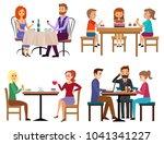 eating people set. couple...   Shutterstock . vector #1041341227
