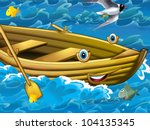 Happy cartoon boat - stock photo