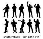 set of disc jockey silhouette...   Shutterstock .eps vector #1041356545