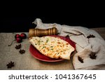 traditional indian naan garlic... | Shutterstock . vector #1041367645