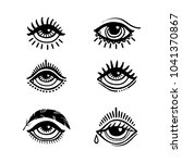 set of hand drawn eyes. doodle... | Shutterstock .eps vector #1041370867