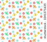 floral pattern vector seamless... | Shutterstock .eps vector #1041371635