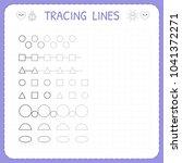 tracing lines. worksheet for... | Shutterstock .eps vector #1041372271