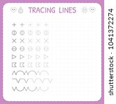 tracing lines. working pages... | Shutterstock .eps vector #1041372274