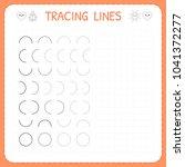 tracing lines. worksheet for... | Shutterstock .eps vector #1041372277