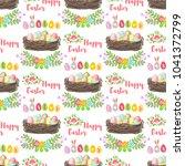 easter eggs seamless pattern... | Shutterstock .eps vector #1041372799