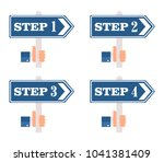 numbered steps  pointers.  | Shutterstock .eps vector #1041381409