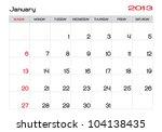 January 2013 Calendar In English