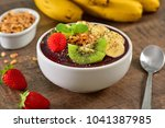 acai berry bowl with sliced... | Shutterstock . vector #1041387985