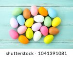 colorful easter eggs on rustic... | Shutterstock . vector #1041391081