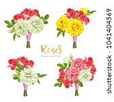 set collection flowers roses on ... | Shutterstock .eps vector #1041404569