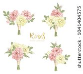 set collection flowers roses on ... | Shutterstock .eps vector #1041404575