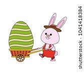 cute rabbit pushing wheelbarrow ... | Shutterstock .eps vector #1041418384