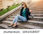 young stylish beautiful woman... | Shutterstock . vector #1041418507