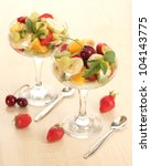 fresh fruits salad and... | Shutterstock . vector #104143775