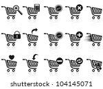 black shopping cart icon set | Shutterstock .eps vector #104145071