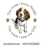 Stock vector slogan with beagle dog illustration 1041453685