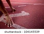 number 1 on running track   Shutterstock . vector #104145539