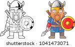 cartoon funny viking  coloring... | Shutterstock .eps vector #1041473071