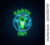 glowing neon sign of world... | Shutterstock .eps vector #1041500749
