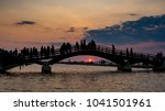 tourist silhouettes stand on... | Shutterstock . vector #1041501961