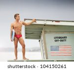 Sexy Male Lifeguard On Top Of...