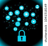 network vulnerability  locked... | Shutterstock .eps vector #1041518149