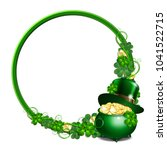 patrick day round green frame... | Shutterstock .eps vector #1041522715